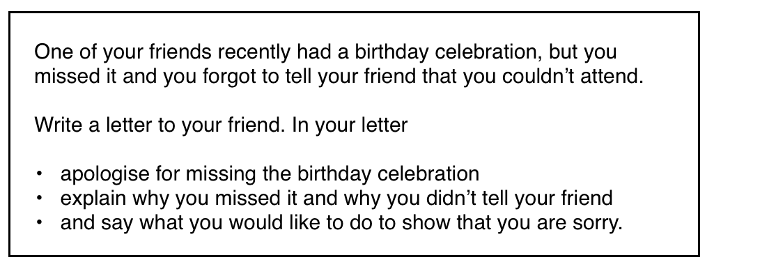 IELTS General Writing Apology Letter Ieltssimoncom - Informal invitation letter to a birthday party